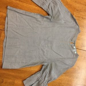 Grey ribbed fitted shirt